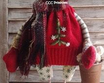 Primitive Pattern - Primitive Christmas Snowman Jake E-Pattern - Primitive Christmas Snow People Pattern - Primitive Snowman Pattern