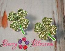 2 pc Shamrock Button Sliders - 20x16mm size - Green Clover Rhinestone - St Patricks day Craft Embellishment - Bling