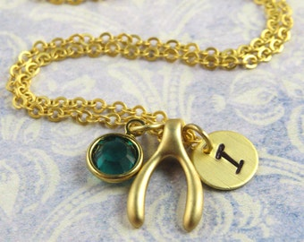 Bridesmaid gift, Personalized wishbone necklace, wishbone necklace, matte gold birthstone necklace, initial necklace