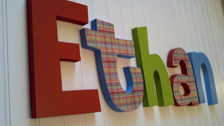 Nursery Letters Boy Nursery Wall Hanging By RachelsWoodBarn
