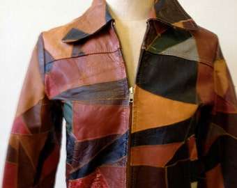 1970's Patchwork Short Leather Jacket-Small