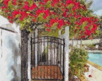 "Gate with Bougainvillea Arbor 12"" x 18"" x 1 1/4"""