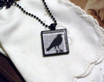 Poe's The Raven Necklace - Black Pendant Setting and Ball Chain - 25mm Square Glass Cabochon
