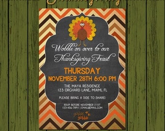 Thanksgiving Invitation - DIY Printable Turkey Dinner Thanksgiving  Invite - DIGITAL FILE