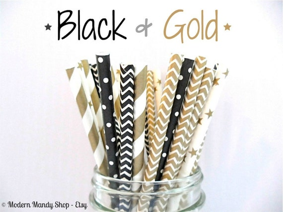 SALE!!! Black and Gold Mixed Paper Straws (Black & Gold - Pack of 25 or 50) **Weddings, Parties, Showers, Gifts** New Years/Hollywood Party