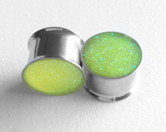 Neon yellow glitter plugs 5/8""
