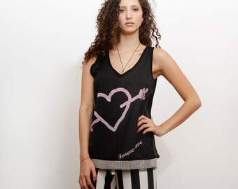 Women Black Top, Open Back Shirt, Sleevless