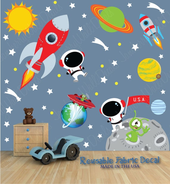 Space wall decal with custom name astronaut planets sun for Space wallpaper for kids room