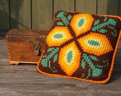 Hand Knit Decorative Sofa Pillow Brown Yellow orange Flower.