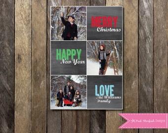 Chalkboard Christmas Card, Holiday Card, Photo Christmas Card, Christmas Card, Chalkboard, Chalkboard Holiday Christmas Card, Photo Collage