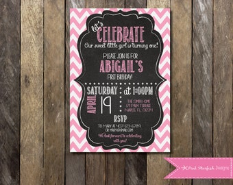 Pink and Gold Birthday Invitation Pink and Gold Confetti