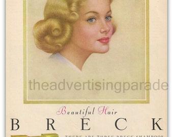 Breck Girl Shampoo Magazine Ad 1960 Vintage Beautiful Hair