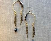 gold hand forged horseshoe earrings with chain //  wire wrapped earrings // mixed metal earrings // chandelier earrings // hammered earrings