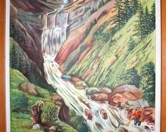 Vintage French school poster ROSSIGNOL. Double sided .1950's. Original. The stream and waterfall - the deep valley