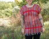 Vintage Mexican Poncho, Red Multicolored Striped Woven Top