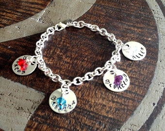 Personalized Charm Bracelet Grandma Bracelet Grandchild Bracelet Handstamped Jewelry Mom Charm Bracelet Grandma Gift Valentines Day Gift