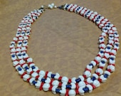 Vintage multi strand red white and blue beaded necklace - festive - heavy - patriotic