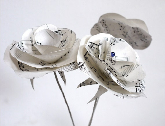 singen rosen noten papier upcycled papier dekoration