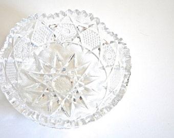 SALE * Vintage American Brilliant Cut Glass Bowl