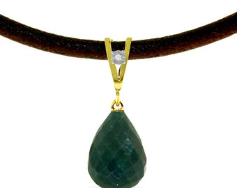 14K. Solid Gold & Leather Necklace with Diamond and Emerald (Yellow Gold, White Gold, Rose Gold)