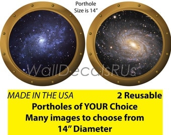 Porthole Window,Space Decals,Outer Space Wall Decals,Outer Space Wall Murals,Outer Space Stickers,Stars Wall Decor, S11S13