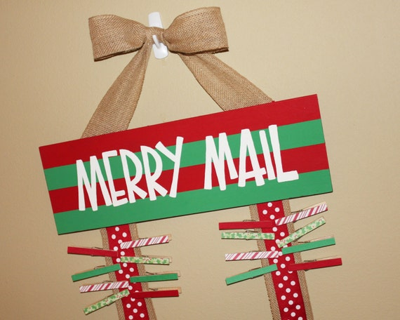 Merry Mail Christmas Card Holder Display Burlap By