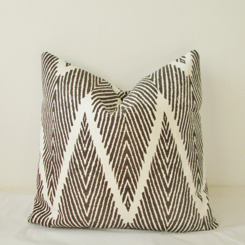 Decorative Pillows Covers 18x18 : Espresso Chevron Ikat Decorative Pillow Cover 18x18 20x20