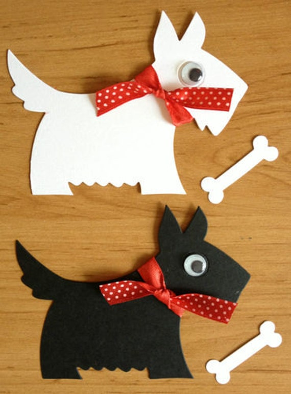 8 large scotty scottie westie dog die cuts with bones for for Dog bone ornaments craft