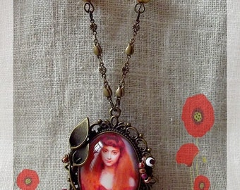 """Woman with Violets"" cabochon pendant necklace"