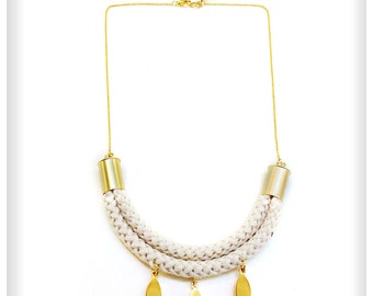 Geometric white rope necklace, cord necklace,geometric jewelry,boho jewelry, wedding,bib necklace, statement necklace