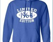 1964 Limited Edition 50th Birthday Party swag gag geek cool Printed hoodie hooded sweatshirt Mens Ladies Womens dad Funny mad labs ML-237