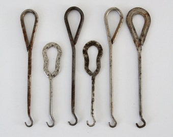 antique boot hooks,  turn of the century boot hook collection