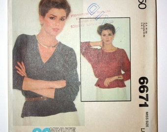 McCalls 6671 - Sewing Pattern Misses size Large - Sweater