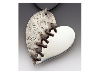 Mended Heart Necklace - sterling silver and leather.