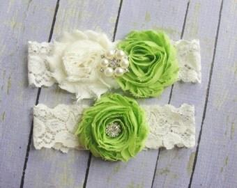 Green Garters, Ivory Lace Garter, Garter Belt, Apple Green Garter, Ivory Wedding Garter, Pearl Bridal Garter, Flower Garter