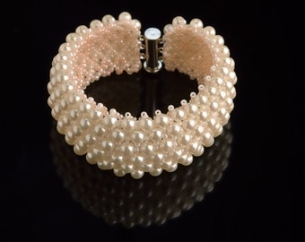 Jewelry Bracelet Beadwork Pearl Glass Bracelet  Wedding Jewelry Bridal Bracelet