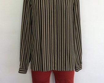 Jones New York Vertical Black and White Striped Vintage Blouse