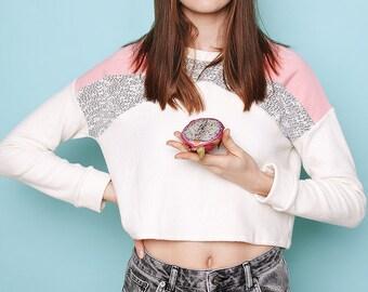 Pink and marble geometric handmade sweatshirt. Minimal style