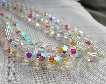 10 mm Vintage Czech Cut Crystal AB Faceted Beads - 10