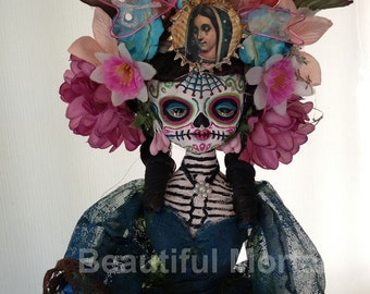 Beautiful Mortal Dia De Los Muertos Skeleton Doll PRINT 519 Reproduction by Michael Brown