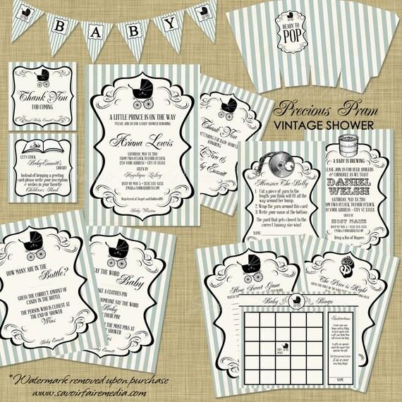 Vintage Baby Shower Thank You Cards: Vintage Stroller Baby Shower Invitation Set