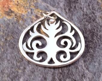 Teardrop Charm, Teardrop Pendant, Leaf Charm, Scroll Pendant, Sterling Silver Charm