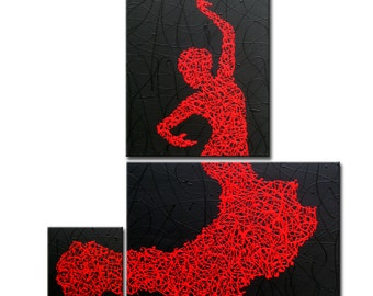"Matrix Flamenco - Original Painting in 3 Pieces on Stretched Canvas, 38""x36""x0.75"""