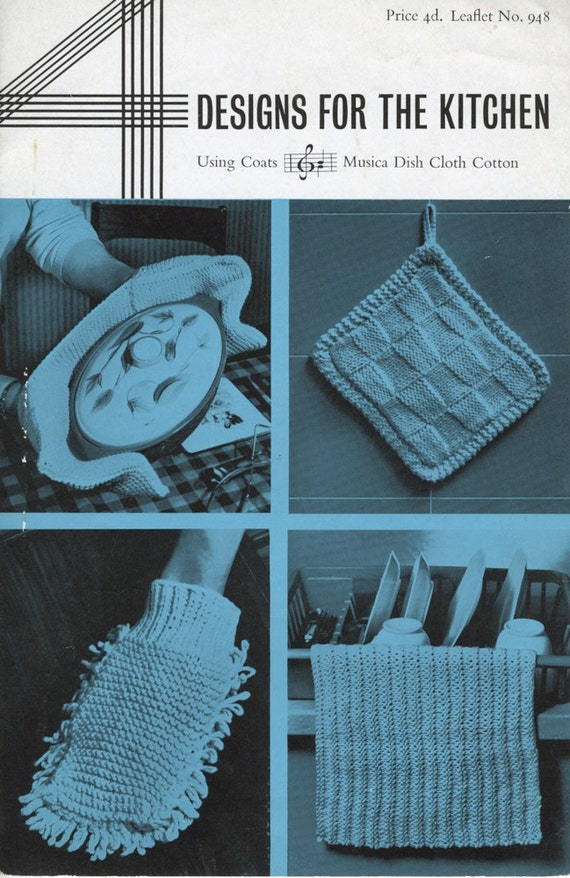 Knitting Pattern Oven Gloves : 1960s Knitted Kitchen Accessories Pattern / Oven Gloves