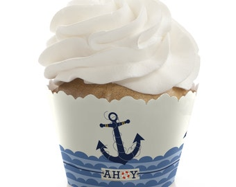 Ahoy Nautical Cupcake Wrappers - Baby Shower Cupcake Decorations - Birthday Party Cupcake Supplies - Set of 12 Cupcake Liners