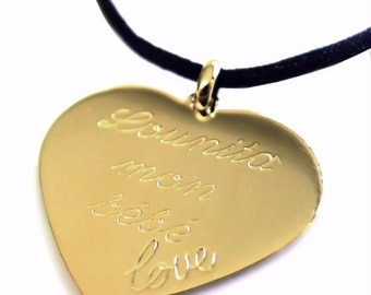 Custom necklace medal heart plate gold cord silk