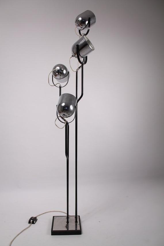 Reggiani floor lamp cinematic 4 chrome heads vintage mid for Reggiani chrome floor lamp