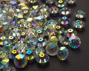 Vintage Swarovski Crystal Beads, Crystal 5305 With Aurore Boreale Finish, 6mm Crystal Beads, 35 Vintage Crystal Beads