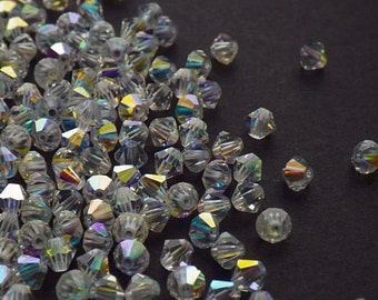 50 Vintage Swarovski Crystal Beads, 4mm Article 5301, Crystal With Aurore Boreale Finish