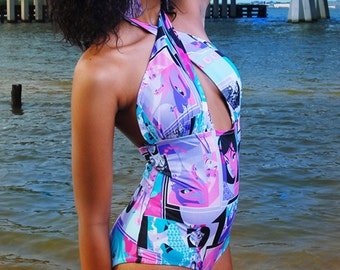 Multi Colored Printed One Piece Swimsuit